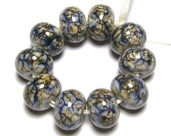 Handmade Lampwork Glass Beads in Swirled Grey and Silvered Ivory