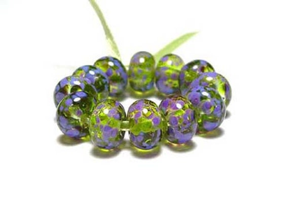 Handmade Mini Lampwork Glass Beads in Olive and Orchid Purple on Spring Green set of 12 - Orchids in Bloom