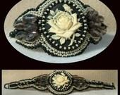 Ivory Rose - Artisan Handmade Bead Embroidered Bracelet on Etsy