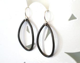 single steel leaf earrings