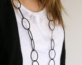 black and silver long chain necklace - Alice necklace by Megan Auman