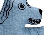 blue grey circle patterned dog shaped big pillow