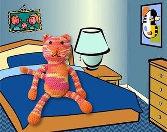 crocheted cat on bed digital print