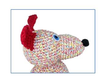 plush portrait of randy -crocheted dog -digital print
