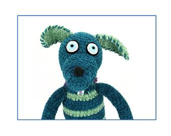 plush portrait of terrance -crocheted dog -digital print
