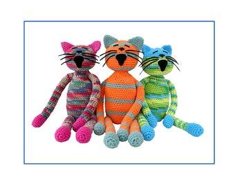 plush portrait of 3 cats -crocheted cats -digital print