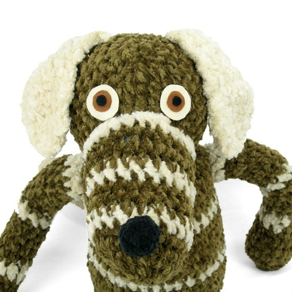 buster -  brown striped plush crocheted dog softie