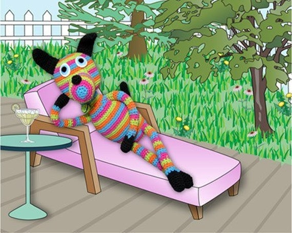 crocheted dog lounging in yard digital print