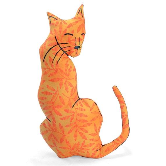 orange leaf patterned cat shaped medium pillow