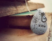 hand stamped jewelry. dandelion wish necklace. oxidized sterling silver.