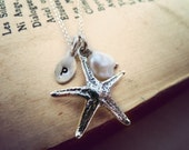 bridesmaid necklace - monogram initial Jewelry- starfish necklace - beach inspired necklace - oxidized sterling silver.