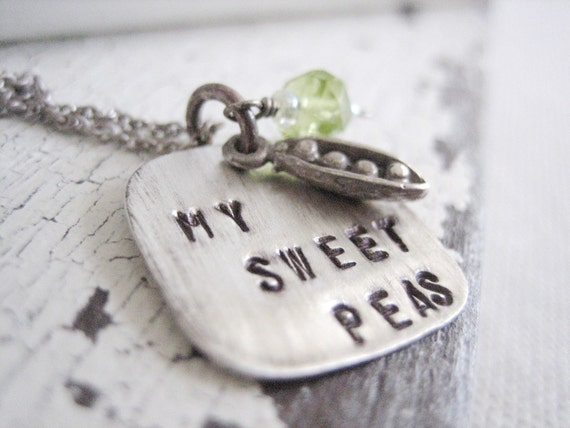 hand stamped mommy necklace, my sweet peas necklace with peas in a pod charm and green peridot stone.