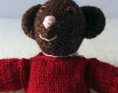 Knitted bear doll with red jumper (sweater), free UK shipping