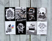 Mix and Match Postcard Set. Pick 4 out of 8 Designs. Pandas, Skulls, Owls, Ice Cream