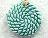 Mint Green Necklace - Ceramic Pendant