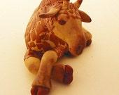 Raffe the sleepy giraffe miniature figure in polyclay