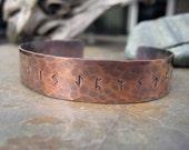 Rune Bracelet. Runic Jewelry. Hand Forged. Elder Futhark Viking Runes. Pure Copper. Cindy's Art & Soul