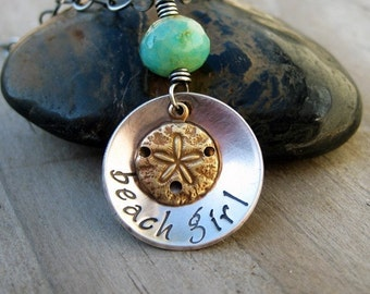 Custom Necklace Beach Girl Sterling Silver Mixed Metals Gemstone