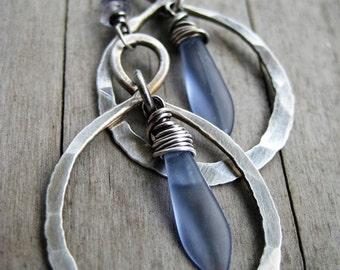 Earrings. Sterling Silver Infinity Hoop. Lavender. Violet. Glass. Stone.
