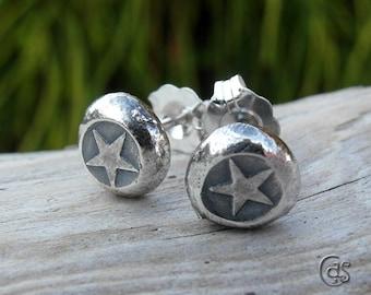 Silver Nugget Post Earrings Stud Earrings Star Fine 925 Silver