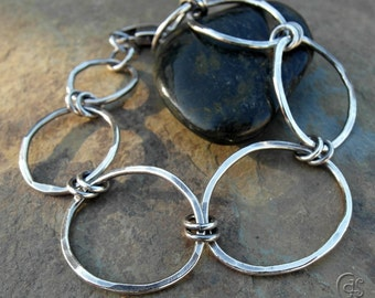 Silver Chain Bracelet Handmade Chain Bracelet Classic Hammered Metalwork