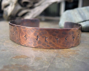 Rune Bracelet. Runic Jewelry. Hand Forged. Elder Futhark Viking Runes. Pure Copper. Cindy's Art & Soul