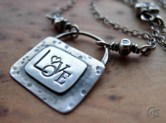 Sale Silver Love Necklace Jewelry Heart Pendant Handmade