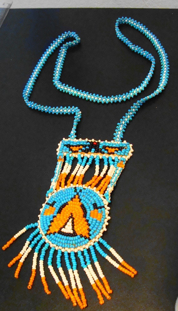 Vintage  Native American Beaded Eagle and TeePee Necklace 1970s