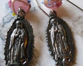 Pink Our Lady of Guadalupe Earrings