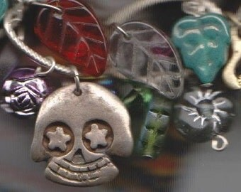 Skull and Flower Day of the Dead Sterling Silver Charm Bracelet