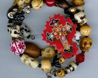 Day of the Dead Multi Layer Skulls Bracelet