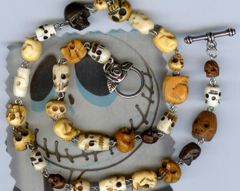 Bone Skulls Necklace Thirty Beads