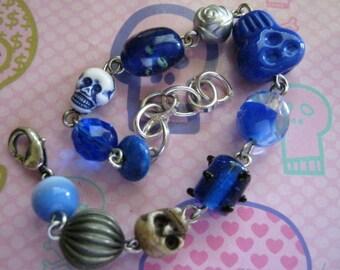 Blue Skulls and Blue Beads Charm Bracelet