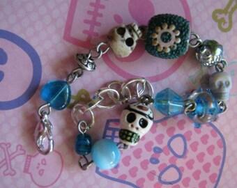 Turquoise Skulls and Turquoise Beads Bracelet