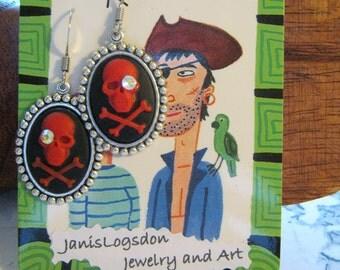 RED Rhinestone Skull and Crossbones Pirate Earrings