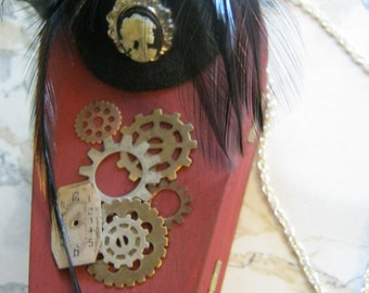 Steampunk Hat and Skeleton Cameo Victorian Coffin Purse