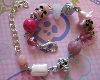 Pink Skulls and Pink Beads Charm Bracelet