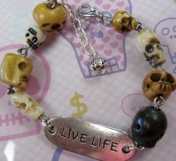 Live Life Skull ID Bracelet