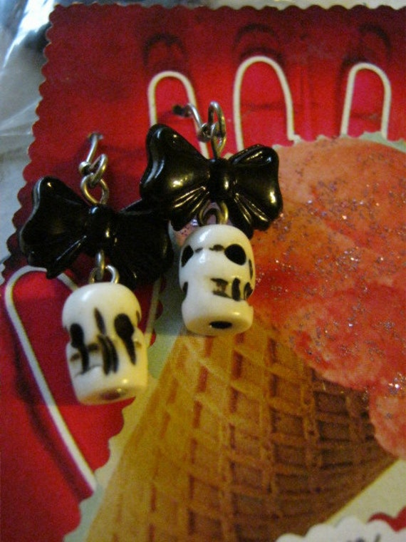 Skull And Black Bow Day of the Dead Earrings