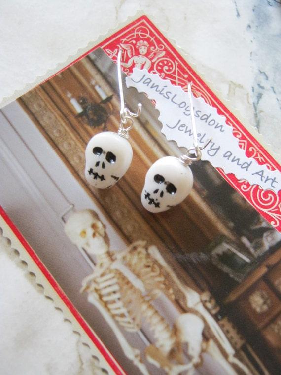 RESERVED FOR ANGELA Black and White Glass Skull Dangle Earrings