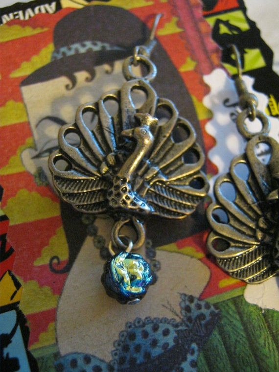 RESERVED FOR ALURA Steampunk Rainbow Peacock Earrings