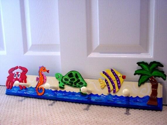 COOL Tropical Beach Ocean life Critters kids Wall peg Hooks Nursery decor Custom Original