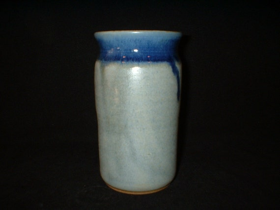 small vase in matte blue with glossy navy