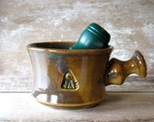 Shaving Mug Apothecary Style In Woodland Brown and Green