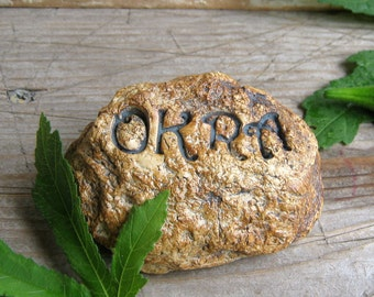 OKRA Garden Herb Marker, Made from Stoneware, Looks like a Rock, Handmade, Small Rock Like, Plant Name Stake, Ready to Ship