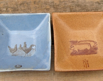 Two Small Square Plates With Farm Animals, Chickens and Pigs, Discounted Second, Farmhouse Decor, Country Style, Urban Farm, Ready to Ship