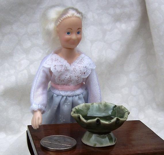 Celadon Fruit Bowl Porcelain Miniature, Grandma and Grandpa Doll, Mature Adult Humor, Not Napoleon, Grandma Tells Fibs, Ready to Ship,
