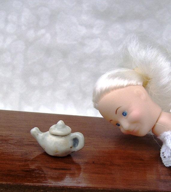 Single Serving Teapot Miniature, Grayish Bluish, Grandma and Grandpa Doll, Adult Humor, Mature, Old Folks, Mean Old Man, Ready to Ship