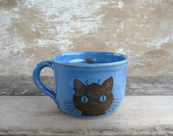 Cat Mug Child Size Blue Second Discounted