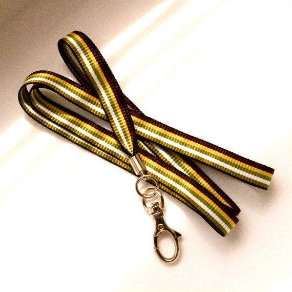 simple ID lanyard, ID badge holder lanyard necklace, natural stripes ribbon